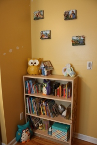This is Jack's book corner. The walls have these cute Winnie the Pooh book plaques my MIL got for her future grandchild years ago (like before we were married). I'm thinking of making some kind of book piece for the adjacent wall.